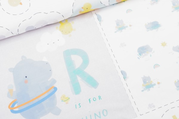 French Terry Panel Rhinos Baby Sky
