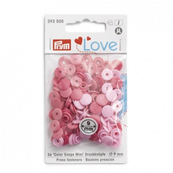 Prym NF Color Snaps Mini Mischpackung 9mm in Rosa