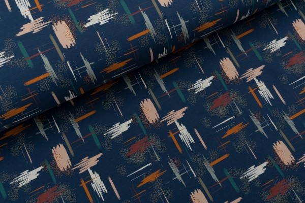 French Terry Brushed IKAT Blue