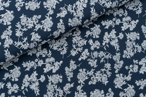 Baumwolle Washed Cotton Flowers Navy