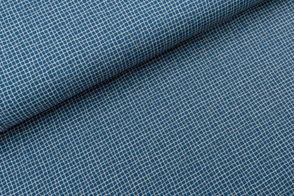 French Terry Brushed Wood Plaid Denim