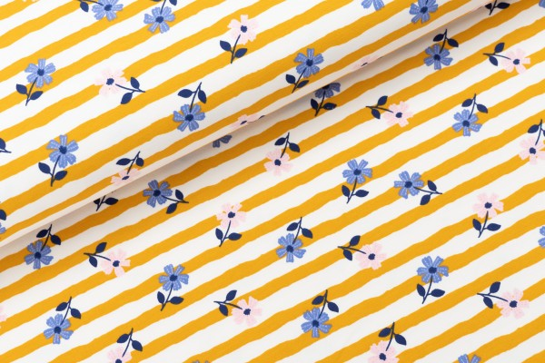 French Terry Flowers & Stripes Mustard
