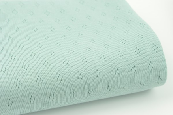 Baumwolljersey Pointoille Strick mit Lochmuster Dusty Mint