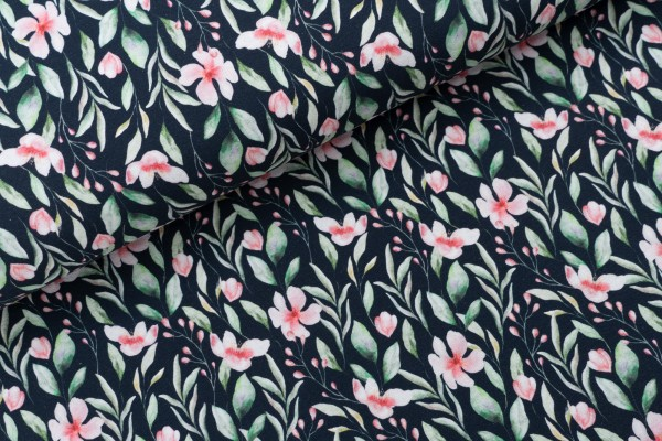 French Terry Lia Flowers Navy